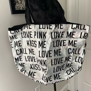 VICTORIA SECRETS PINK SILVER EXTRA LARGE TOTE BAG